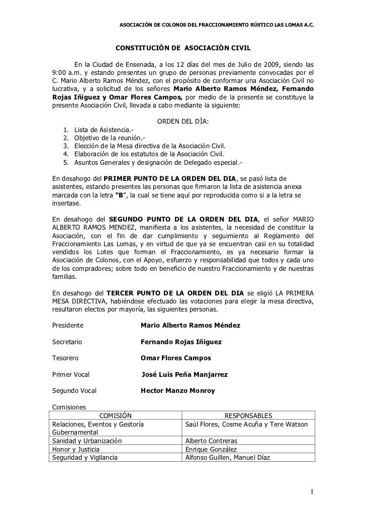 ASOCIACIÓN DE COLONOS DEL FRACCIONAMIENTO RÚSTICO LAS LOMAS A.C.                     CONSTITUCIÓN DE ASOCIACIÓN CIVIL     ...