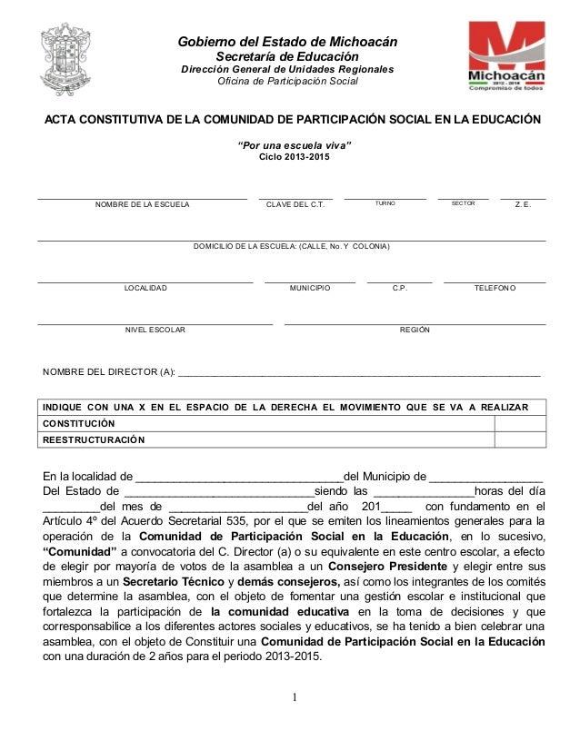 Gobierno del Estado de Michoacán Secretaría de Educación Dirección General de Unidades Regionales Oficina de Participación...