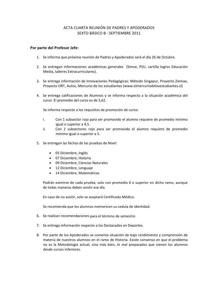 ACTACUARTAREUNIÓNDEPADRESYAPODERADOS                              SEXTOBÁSICOB‐SEPTIEMBRE2011PorpartedelP...
