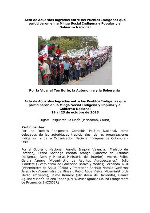 Acta de Acuerdos logrados entre los Pueblos Indígenas que participaron en la Minga Social Indígena y Popular y el Gobierno...