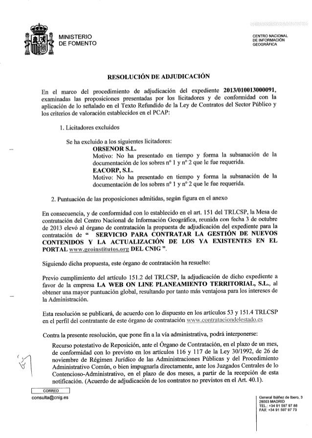Documento de Acta de adjudicación expediente 2013/010013000091 del CNIG