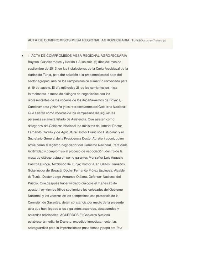 ACTA DE COMPROMISOS MESA REGIONAL AGROPECUARIA. TunjaDocumentTranscript 1. ACTA DE COMPROMISOS MESA REGIONAL AGROPECUARIA ...