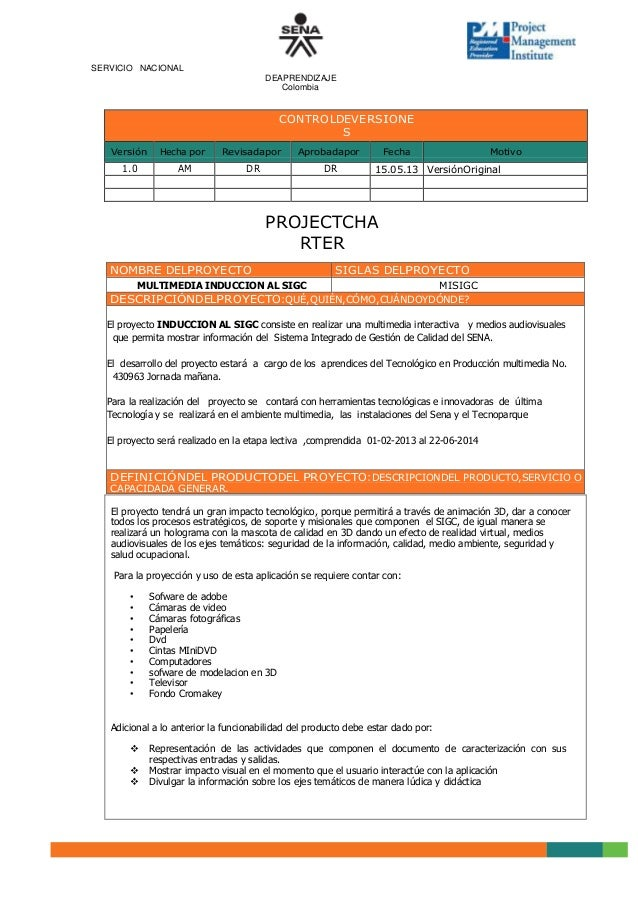 Acta de constituci n del proyecto project charter for Ejemplo proyecto completo pmbok
