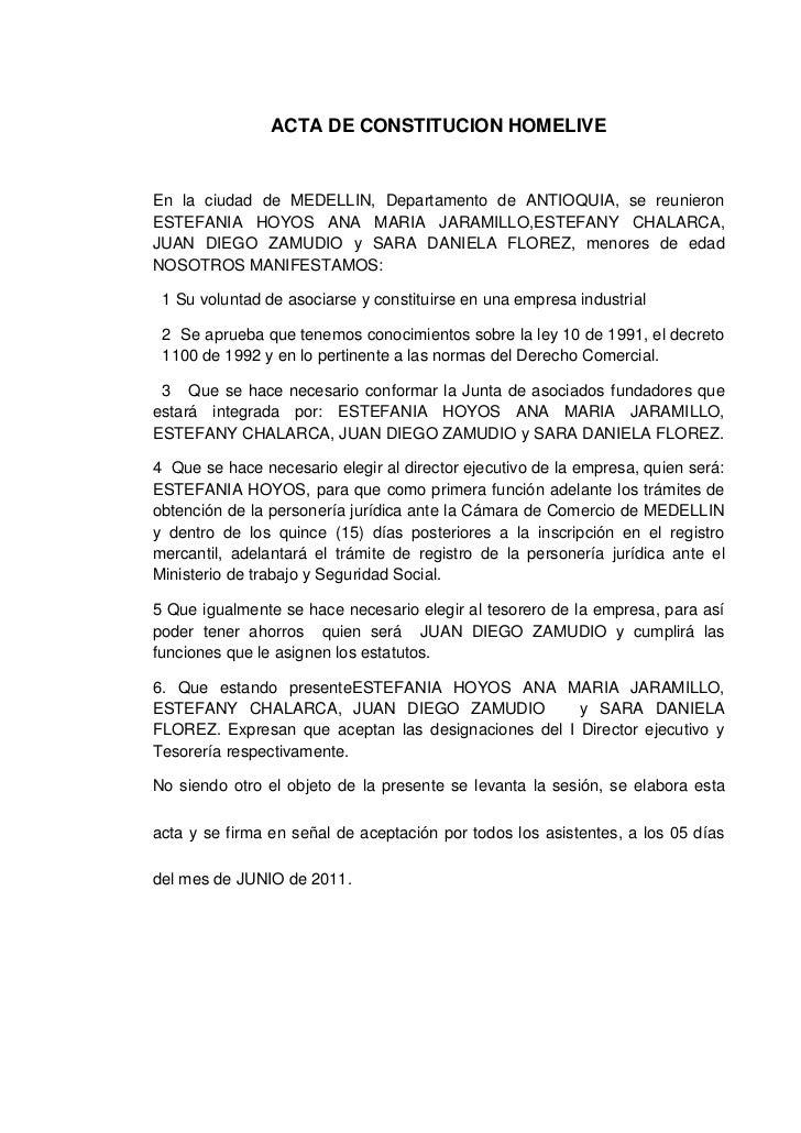 ACTA DE CONSTITUCION HOMELIVE<br />En la ciudad de MEDELLIN, Departamento de ANTIOQUIA, se reunieron ESTEFANIA HOYOS ANA M...