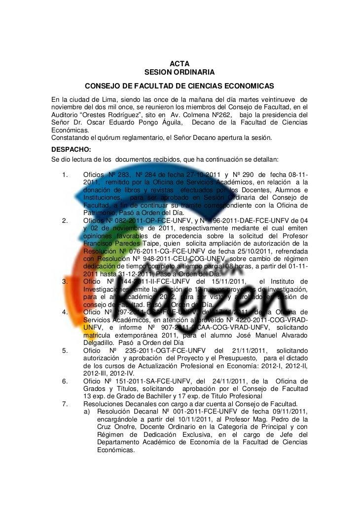 Acta de de sesion de consejo de facultad 29 nov 2011