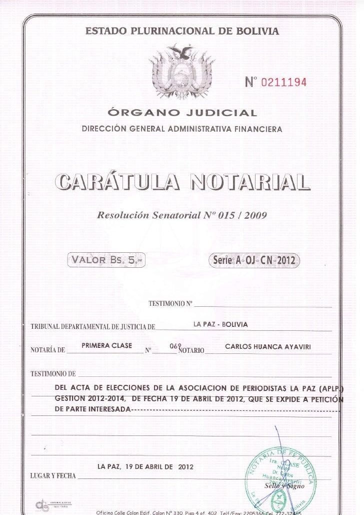 Acta de elecciones aplp 2012