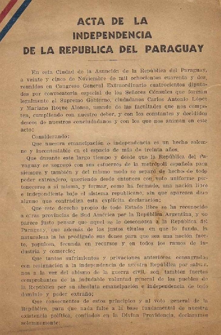 Acta de la Independencia del Paraguay