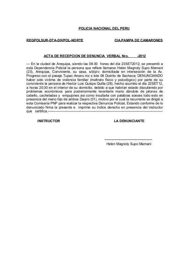 POLICIA NACIONAL DEL PERUREGPOLSUR-DTA-DIVPOL-NORTE CIA.PAMPA DE CAMARONESACTA DE RECEPCION DE DENUNCIA VERBAL Nro. -2012-...