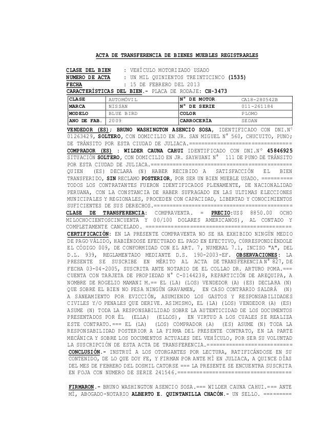 Acta de transferencia de bienes muebles registrarles
