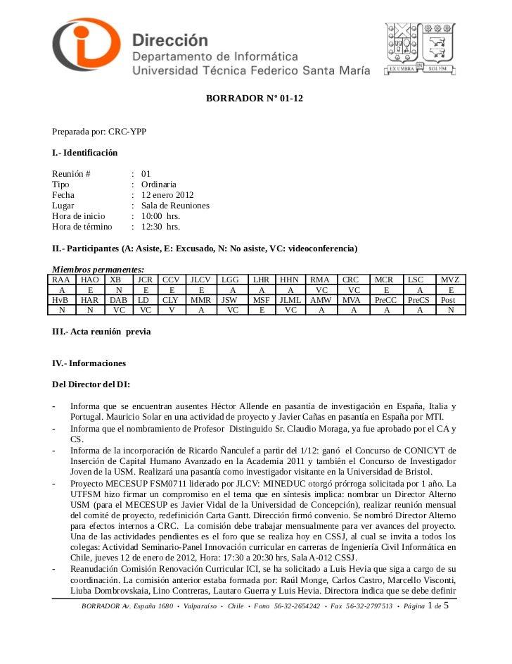 BORRADOR Nº 01-12Preparada por: CRC-YPPI.- IdentificaciónReunión #              :   01Tipo                   :   Ordinaria...