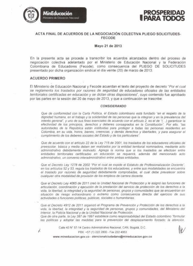 IMinEducaciónMinisteriode Educaclon NacionalACTA FINAL DE ACUERDOS DE LA NEGOCIACIÓNCOLECTIVA PLIEGO SOLICITUDES-FECODEMay...