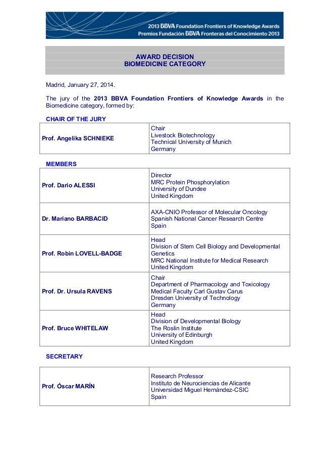 Acta de concesión del premio Fundación BBVA Fronteras del Conocimiento en la categoría de Biomedicina