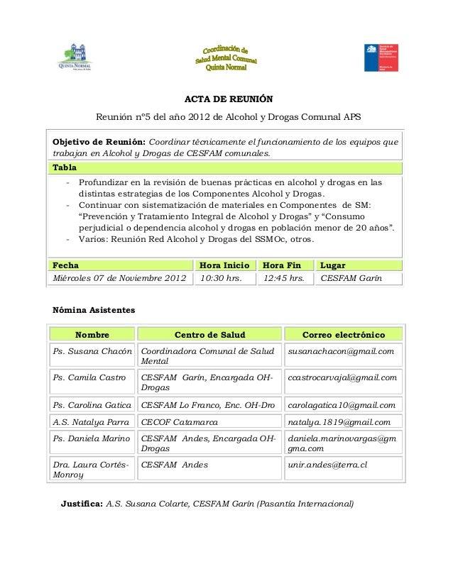 ACTA DE REUNIÓN           Reunión nº5 del año 2012 de Alcohol y Drogas Comunal APSObjetivo de Reunión: Coordinar técnicame...