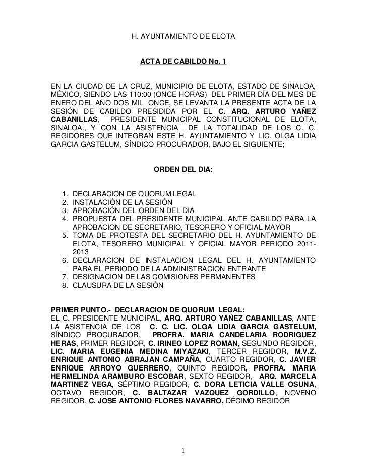 H. AYUNTAMIENTO DE ELOTA                      ACTA DE CABILDO No. 1EN LA CIUDAD DE LA CRUZ, MUNICIPIO DE ELOTA, ESTADO DE ...
