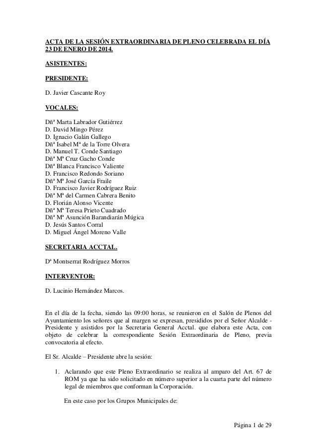 Acta integra del pleno extraordinario del Ayuntamiento de Santa Marta de Tormes del 23 de Enero de 2014