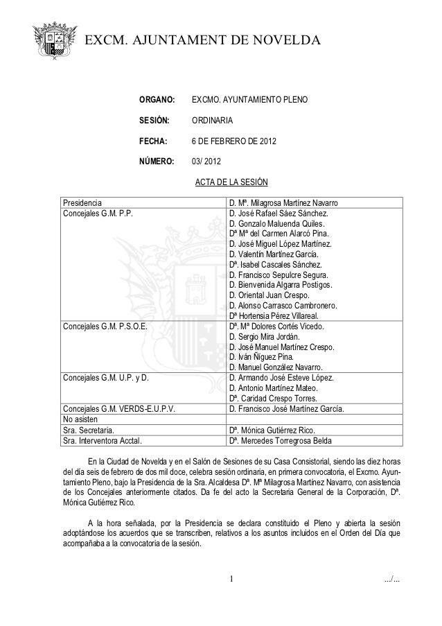 EXCM. AJUNTAMENT DE NOVELDA                        ORGANO:         EXCMO. AYUNTAMIENTO PLENO                        SESIÓN...