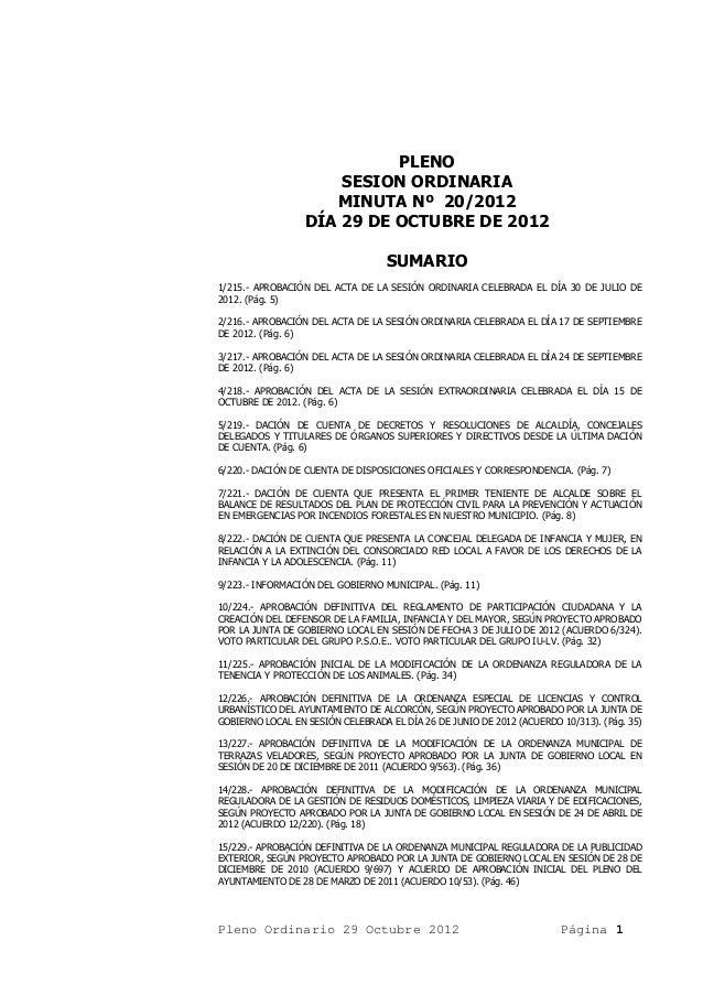 Acta pleno ordinario 29 octubre 2012