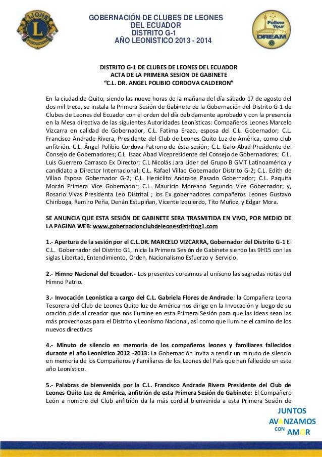 GOBERNACIÓN DE CLUBES DE LEONES DEL ECUADOR DISTRITO G-1 AÑO LEONISTICO 2013 - 2014  DISTRITO G-1 DE CLUBES DE LEONES DEL ...
