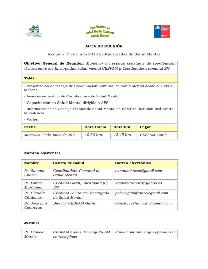 ACTA DE REUNIÓN                Reunión n°5 del año 2012 de Encargadas de Salud MentalObjetivo General de Reunión: Mantener...
