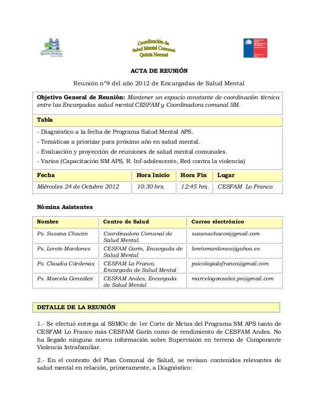 Acta reuni n n 9 2012 encargadas sm cesfam octubre for Acta familiar