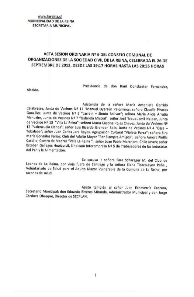 Acta sesion ordinaria nº 6 cosoc del 26.09.2013