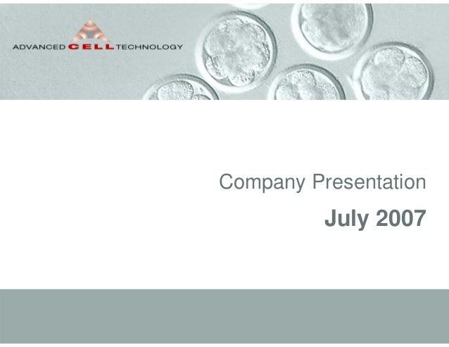 Company PresentationJuly 2007
