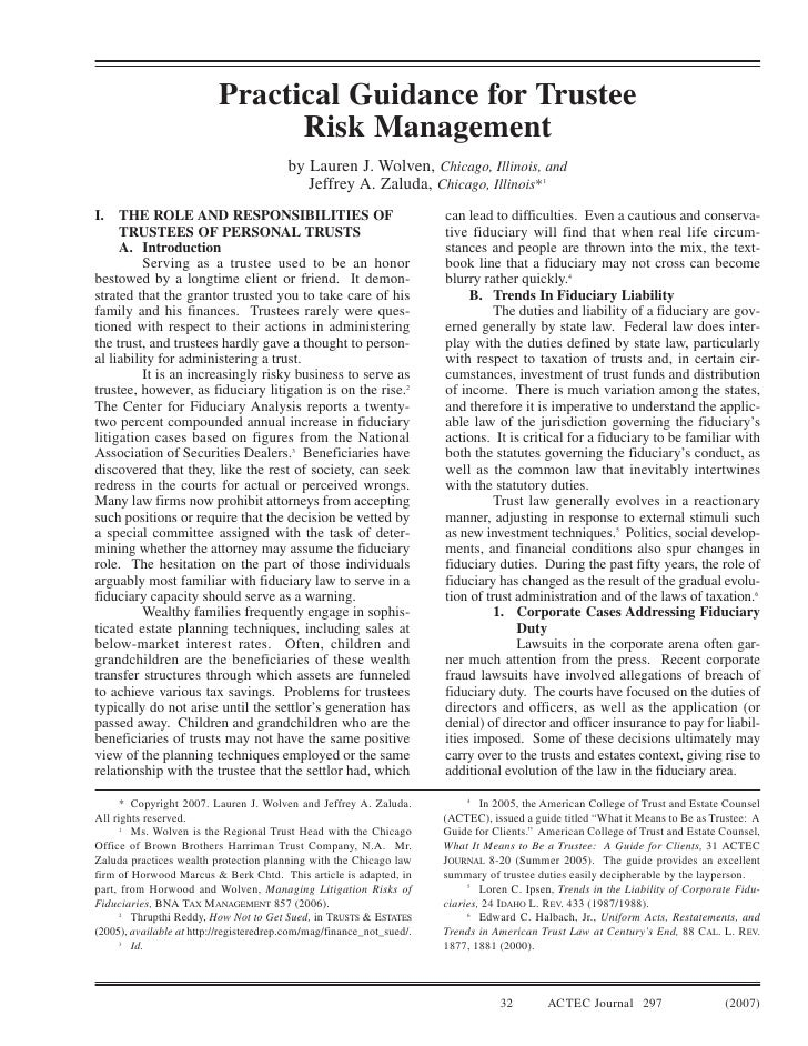 ACTEC Journal - Practical Guidance For Trustee Risk Management