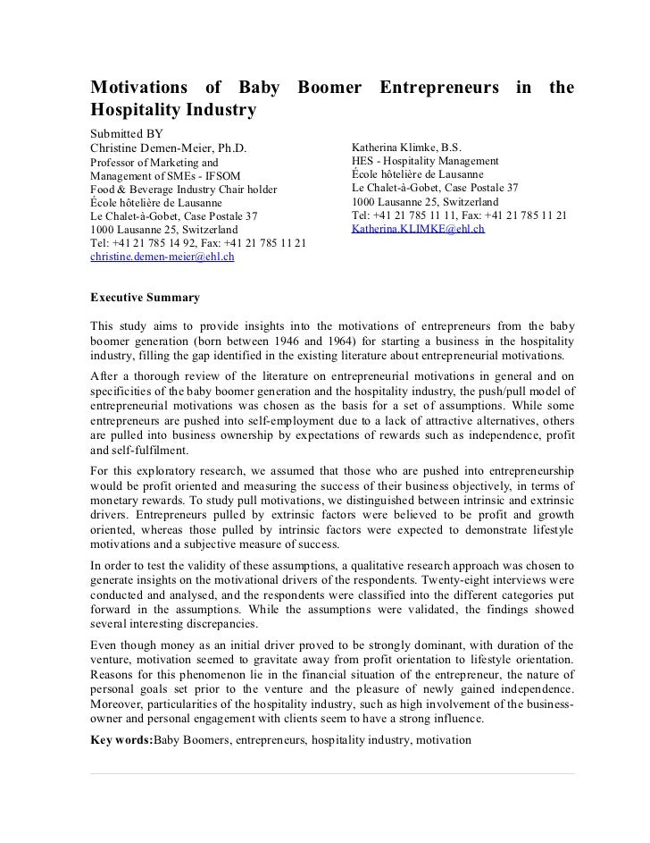 Motivations of Baby Boomer Entrepreneurs in theHospitality IndustrySubmitted BYChristine Demen-Meier, Ph.D.               ...