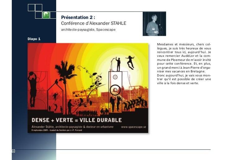 Présentation 2 :               Conférence d'Alexander STAHLE               architecte-paysagiste, Spacescape     Diapo 1  ...