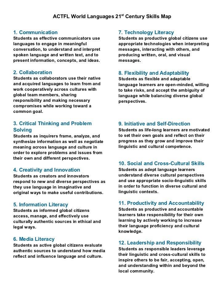 ACTFL World Languages 21st Century Skills Map1. Communication                              7. Technology LiteracyStudents ...
