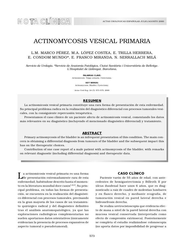 ACTINOMYCOSIS VESICAL PRIMARIA