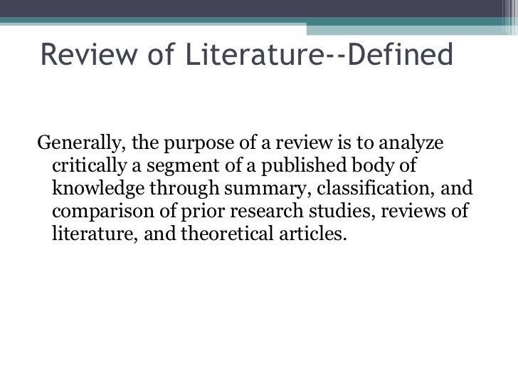 importance of review of related literature ppt Crafting the literature review this presentation overviews the basics of writing a literature review this presentation importance of being selective in your review.