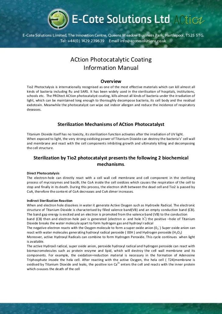 ACtion Photocatalytic Coating                                  Information Manual                                         ...