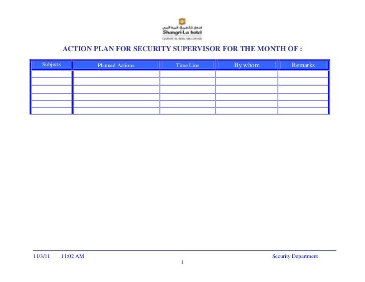 ACTION PLAN FOR SECURITY SUPERVISOR FOR THE MONTH OF :   Subjects              Planned Actions   Time Line   By whom      ...
