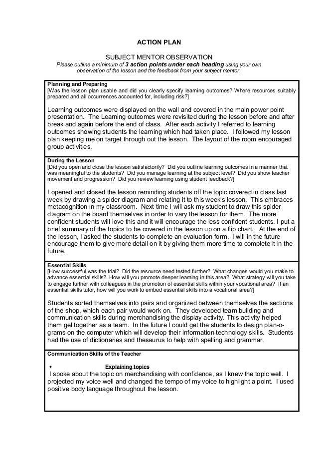 Action Plan Mentor Obserbation Pgce Term 2