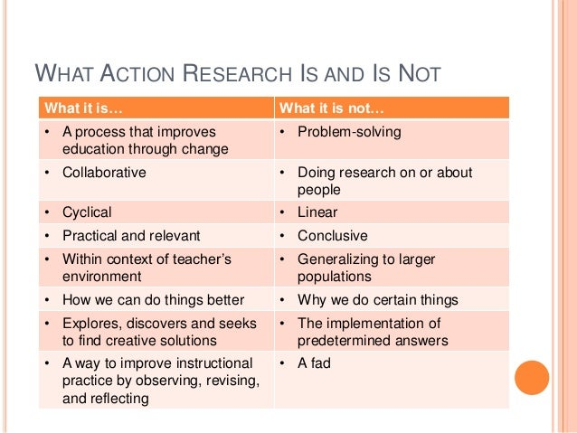 advantages of action research Figure 3 - search conference (adapted from the abl group, 1997) [x] role of the action researcher upon invitation into a domain, the outside researcher's role is to implement the action research method in such a manner as to produce a mutually agreeable outcome for all participants, with the process being maintained by them afterwards.
