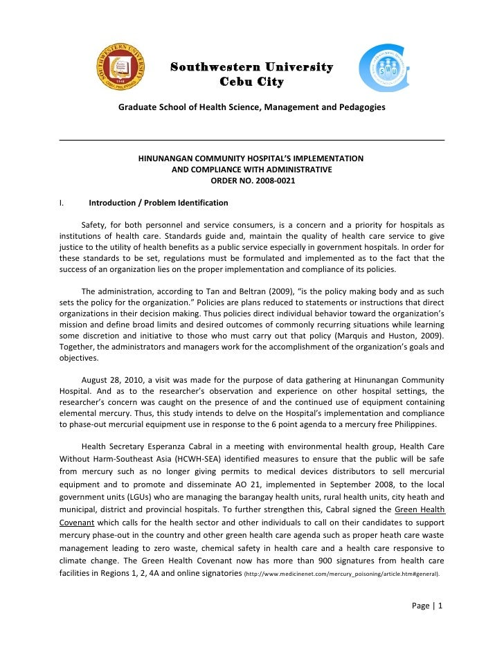 Action Research, A.O.  No. 2008 0021: HINUNANGAN COMMUNITY HOSPITAL'S IMPLEMENTATION  AND COMPLIANCE WITH ADMINISTRATIVE  ...