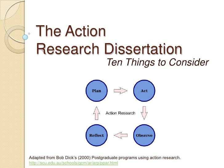 The Action Research Dissertation<br />Ten Things to Consider<br />Adapted from Bob Dick's (2000) Postgraduate programs usi...