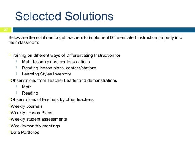 Sample research paper on differentiated instruction