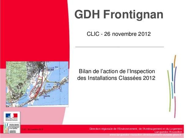 GDH Frontignan                              CLIC - 26 novembre 2012                           Bilan de l'action de l'Inspe...