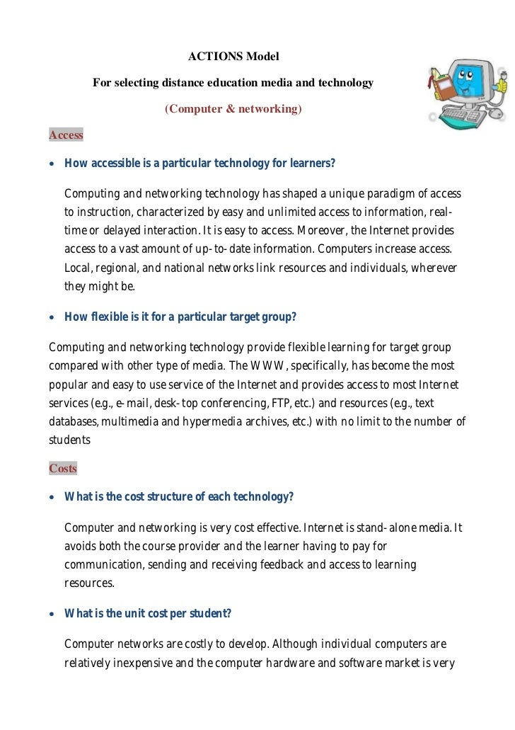 ACTIONS Model           For selecting distance education media and technology                         (Computer & networki...