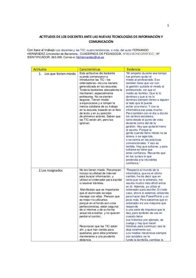 1ACTITUDES DE LOS DOCENTES ANTE LAS NUEVAS TECNOLOGÍAS DE INFORMACIÓN YCOMUNICACIÓNCon base al trabajo Los docentes y las ...
