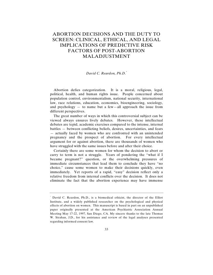 ABORTION DECISIONS AND THE DUTY TO     SCREEN: CLINICAL, ETHICAL, AND LEGAL       IMPLICATIONS OF PREDICTIVE RISK         ...