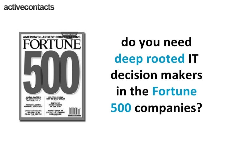do you need  deep rooted  IT decision makers in the  Fortune 500  companies?