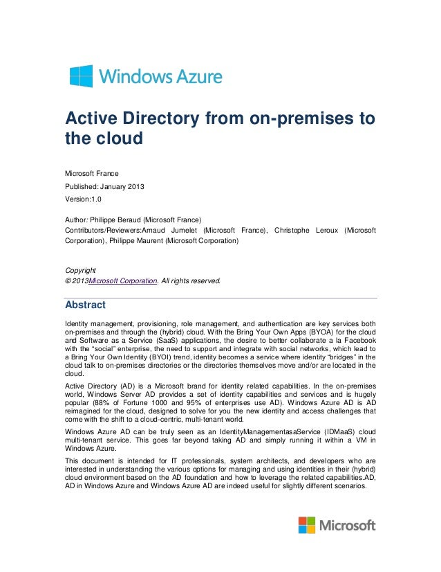 Active Directory from on-premises tothe cloudMicrosoft FrancePublished: January 2013Version:1.0Author: Philippe Beraud (Mi...