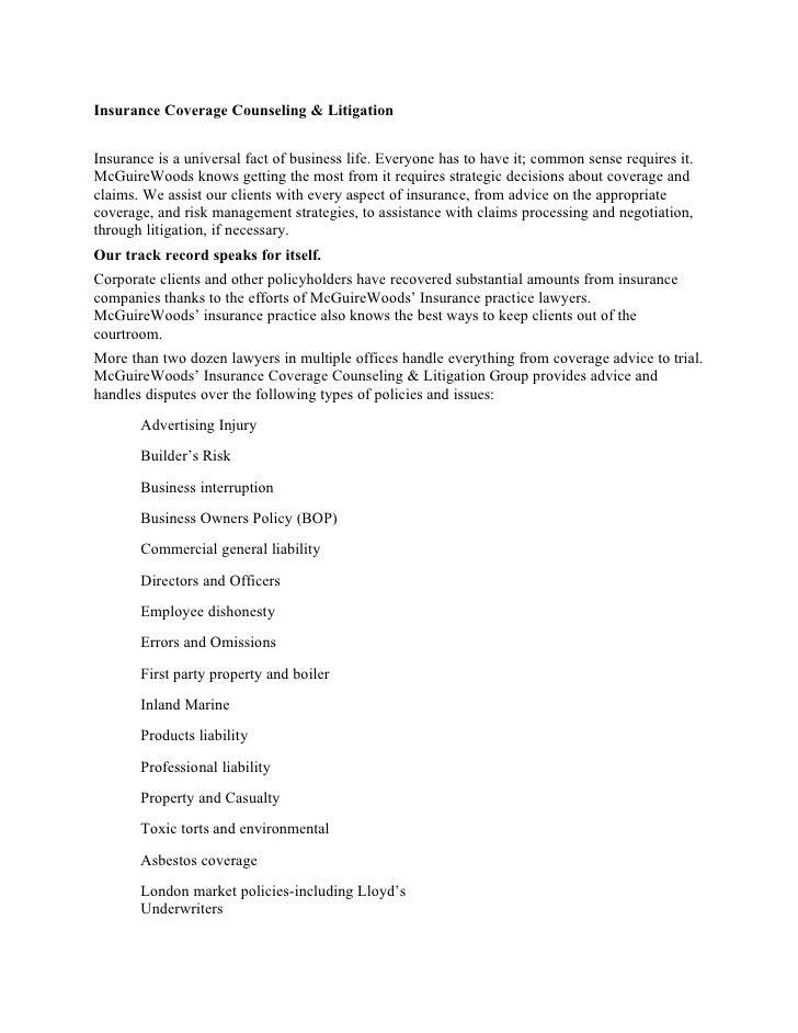 McGuireWoods\' Insurance Practice Description