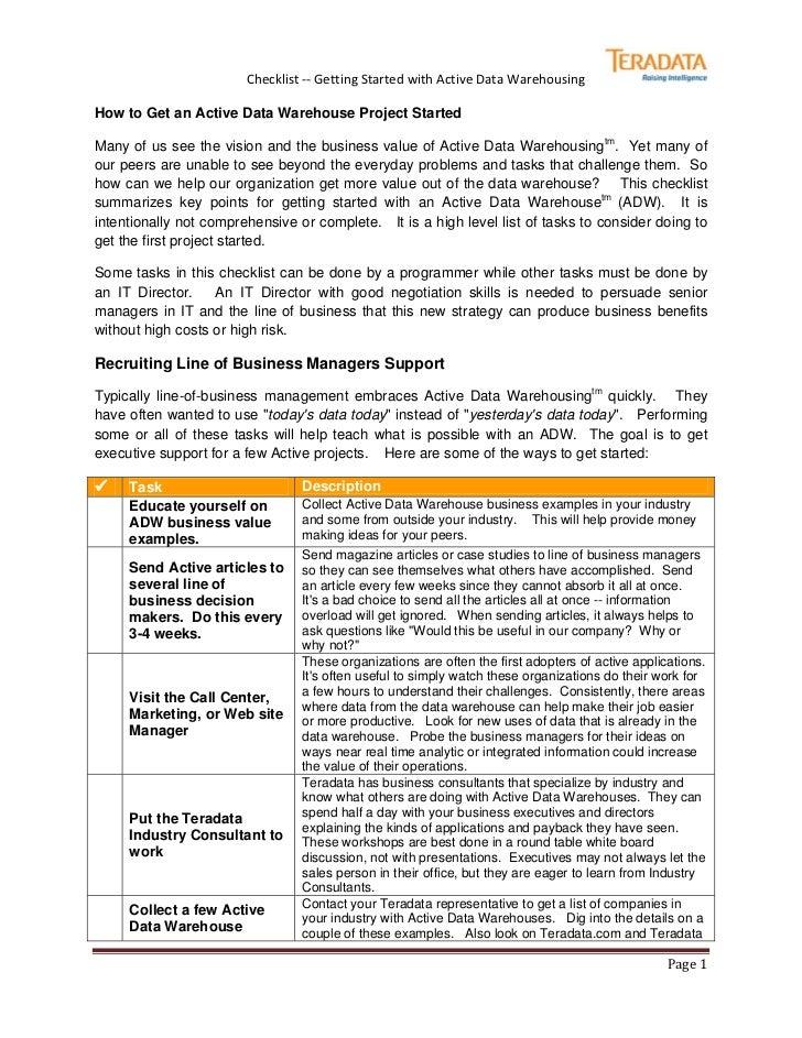 Active Data Warehouse Checklist