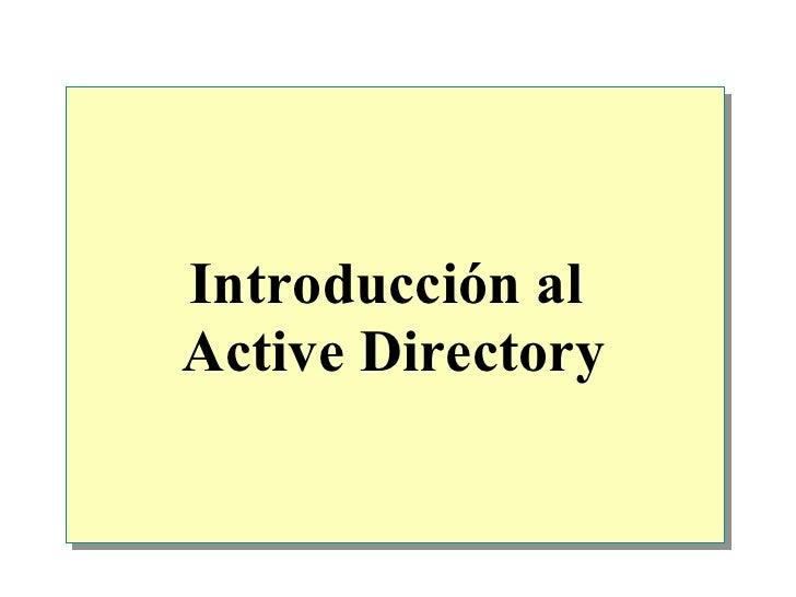 Introducción al  Active Directory