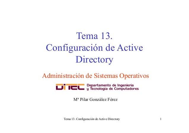 Tema 13Tema 13. Configuración de Activeg Directory Administración de Sistemas Operativos Mª Pilar González Férez Tema 13. ...