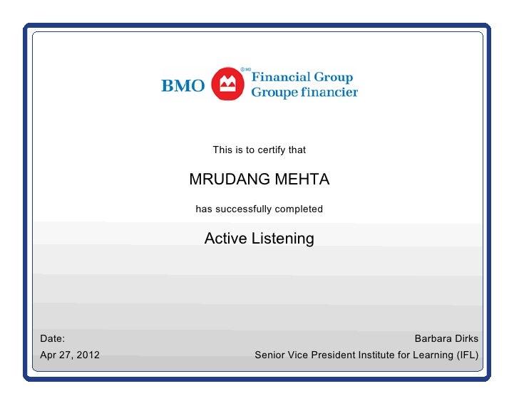 Active listening cerificate